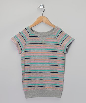 Gray & Pink Stripe Cape-Sleeve Top - Girls