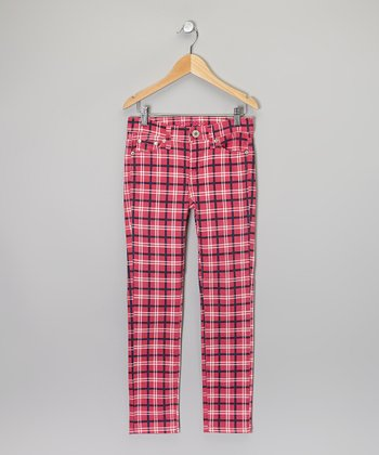 Fuchsia & Black Plaid Skinny Pants - Girls