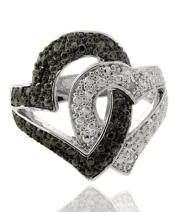 Silver Diamond Accent Black and White Double Heart Ring
