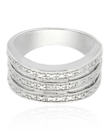 Silver Diamond Accent Three-Band Ring
