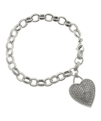 Diamond & Silver Heart Tag Bracelet