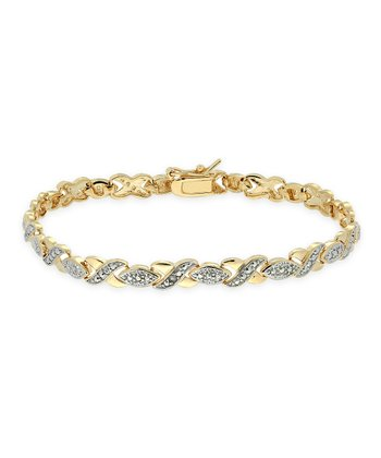 Gold & Silver Diamond Accent XO Bracelet