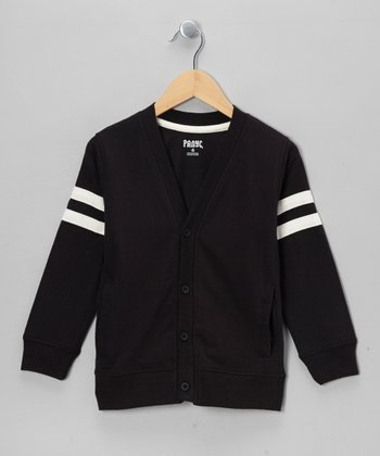 Charcoal & White Varsity Cardigan - boys