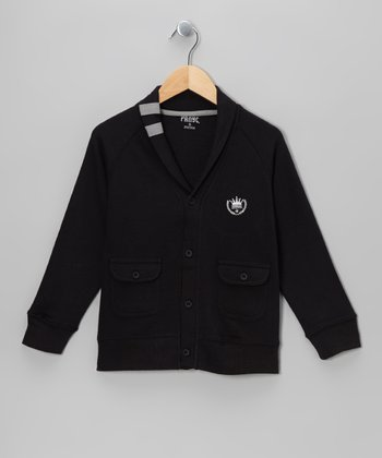Charcoal Varsity Shawl Collar Cardigan - Boys