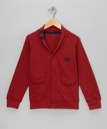 Red Varsity Shawl Collar Cardigan - Boys
