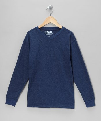 Blue V-Neck Long-Sleeve Tee - Boys