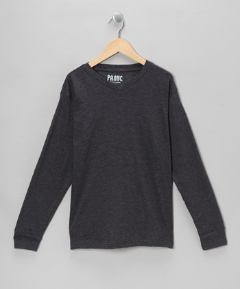 Charcoal V-Neck Long-Sleeve Tee  - Boys
