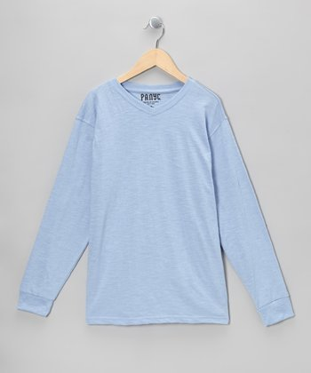 Light Blue V-Neck Long-Sleeve Tee - Boys