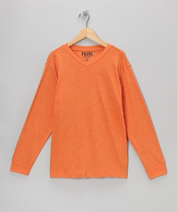 Orange V-Neck Long-Sleeve Tee - Boys
