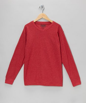 Red V-Neck Long-Sleeve Tee - Boys