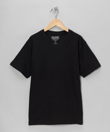 Charcoal Short-Sleeve v-neck Tee - Boys