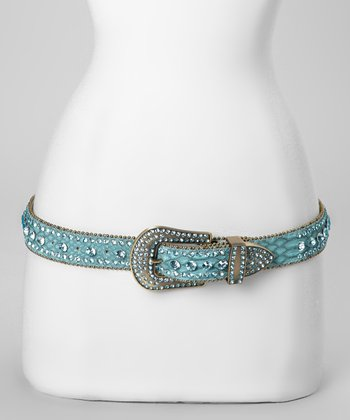 Aqua Jewel River Snakeskin Belt