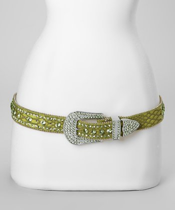 Green Jewel River Snakeskin Belt