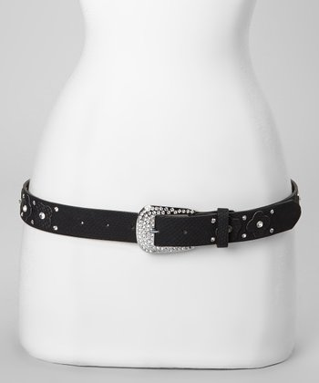 Black Flower Patch Belt
