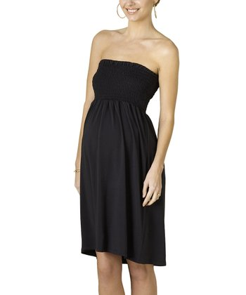 Black Strapless Shirred Maternity Dress