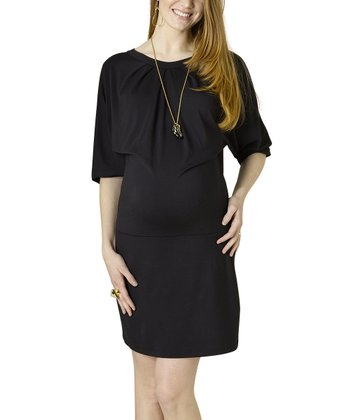 Black Sweatshirt Maternity Dress