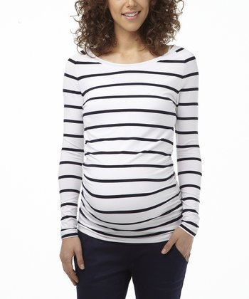 Navy Stripe Maternity Long-Sleeve Top