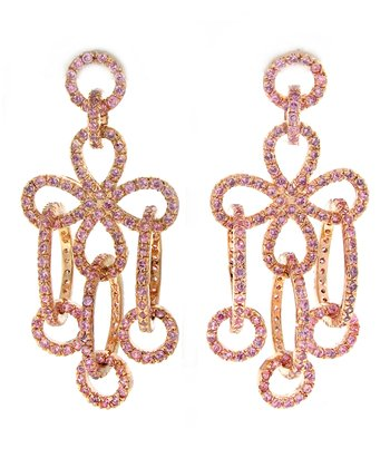 Pink Sparkle & Rose Gold Loop Drop Earrings