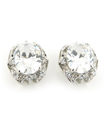 Sterling Silver Sparkle Fancy Oval Stud Earrings