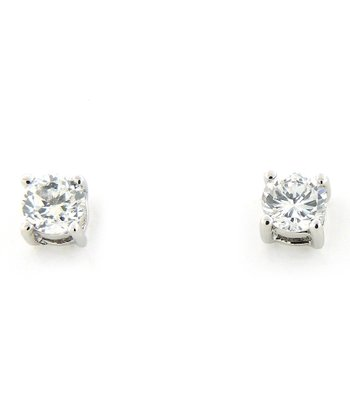 Sterling Silver Sparkle 4-mm Solitaire Stud Earrings