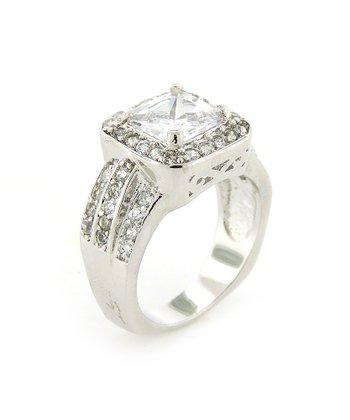 Sterling Silver Sparkle Square Ring