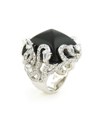 Onyx & Sterling Silver Vine Square Point Cocktail Ring