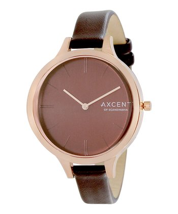 Brown & Rose Gold Sleek Watch - Women