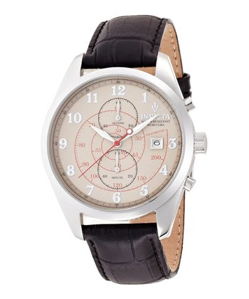 Ivory & Brown Leather Vintage Watch - Men