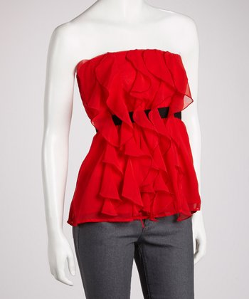 Red Ruffle Strapless Top