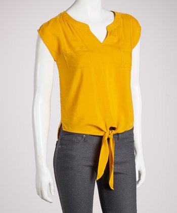Mustard Lace-Back Sleeveless Top