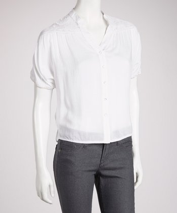 White Lace-Back Short-Sleeve Button-Up Top