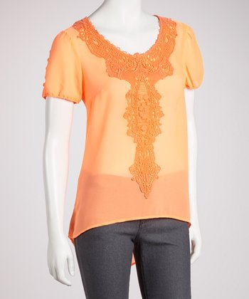 Orange Hi-Low Short-Sleeve Top