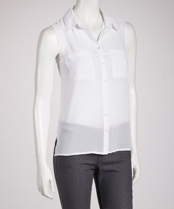 White Sheer Sleeveless Button-Up