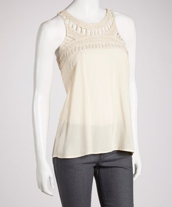 Beige Crocheted Tank