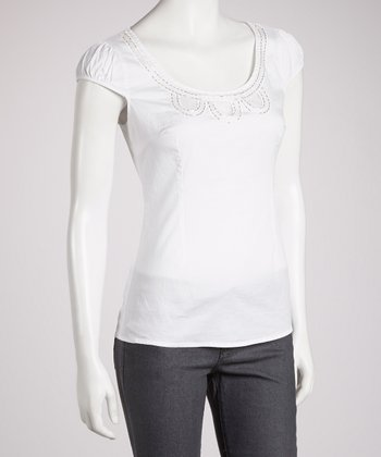 White Cap-Sleeve Top