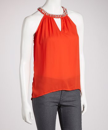 Red Embellished Hi-Low Yoke Top
