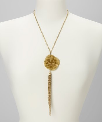 Gold Love Knot Pendant Necklace