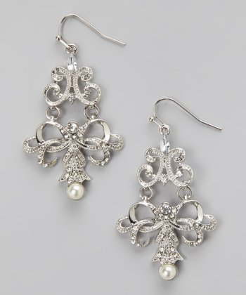 Silver & Cream Pearl Lacy Filigree Chandelier Drop Earrings