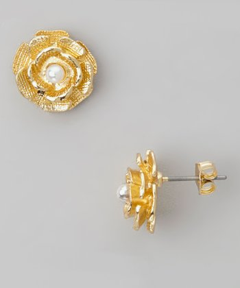 Gold & Cream Pearl Rose Stud Earrings