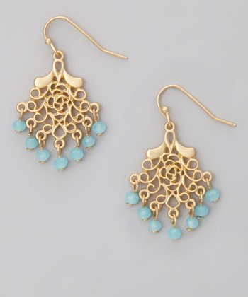 Gold & Blue Mini Filigree Chandelier Drop Earring