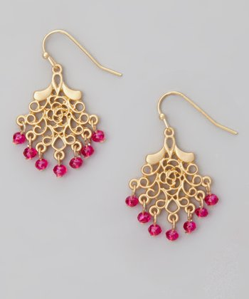 Gold & Pink Mini Filigree Chandelier Drop Earrings