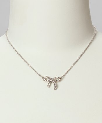 Silver Jeweled Mini Bow Necklace