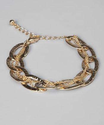Gold Hammered Chain Link Bracelet