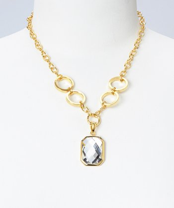 Crystal & Gold Ring Pendant Necklace