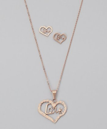 Diamond & Rose Gold 'Love' Pendant Necklace & Earrings