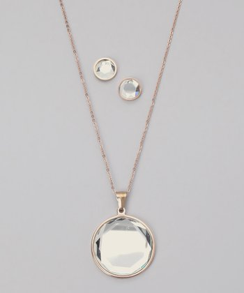 Crystal & Rose Gold Pendant Necklace & Earrings