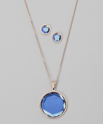 Sea Blue Crystal & Rose Gold Pendant Necklace & Earrings