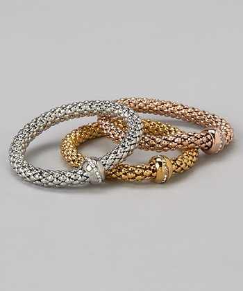 Gold, Rose Gold & Silver Diamond Stretch Bracelet Set