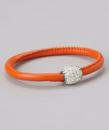 Orange Leather & Stainless Steel Barrel Bracelet