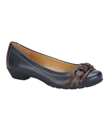 Navy & Chocolate Posie Ballet Flat